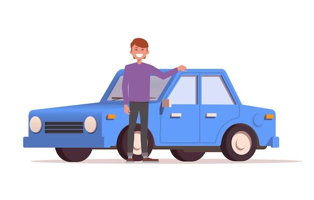 웃는 남자는 새 차 옆에 서있다. 자동차 구매.