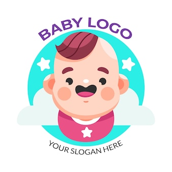 Smiley baby and stars logo template