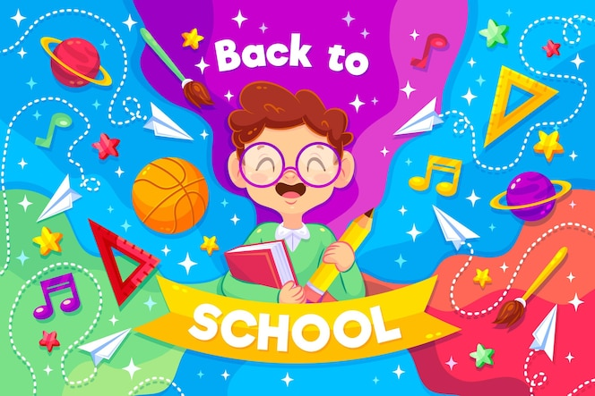 Smiley boy illustrated with back to school message
