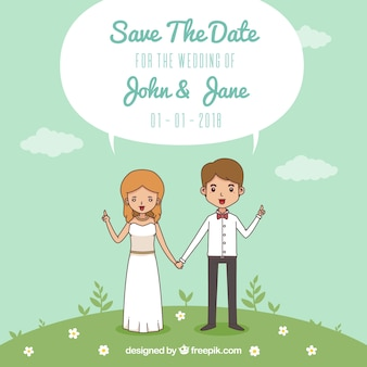 Smiley bride and groom with flat design