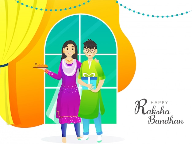 Smiley brother and sister celebrating raksha bandhan festival on abstract window background.