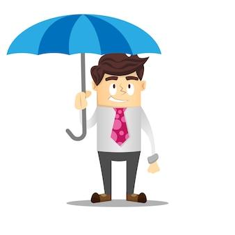 スマイル、ビジネスマン、傘