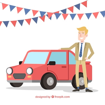Smiley car salesman with flat design