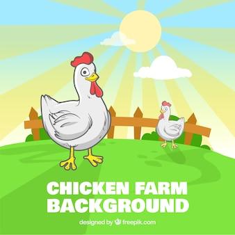 Smiley chicken farm background