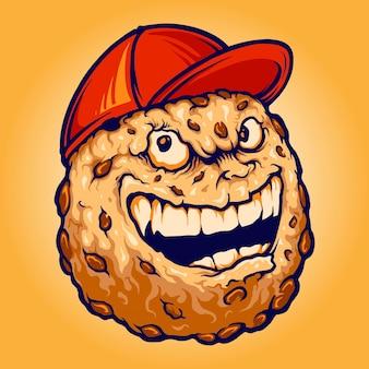 스마일리 초콜릿 쿠키 비스킷 모자 작업 로고, 마스코트 상품 티셔츠, 스티커 및 라벨 디자인, 포스터, 인사말 카드 광고 비즈니스 회사 또는 브랜드에 대한 벡터 일러스트레이션.