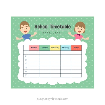 Smiley classmates and school timetable