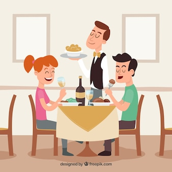 Smiley couple and waiter in restaurant
