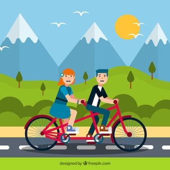 Smiley couple riding bike with flat design