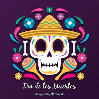 Smiley decorated skull día de muertos background