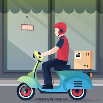 Smiley delivery man on scooter with carton box