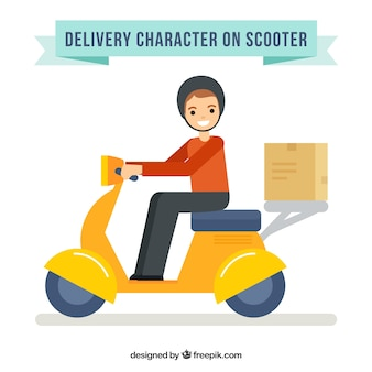 Smiley deliveryman with scooter and carton box
