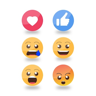 Smiley emojis reactions set