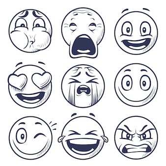 Smiley expression faces set