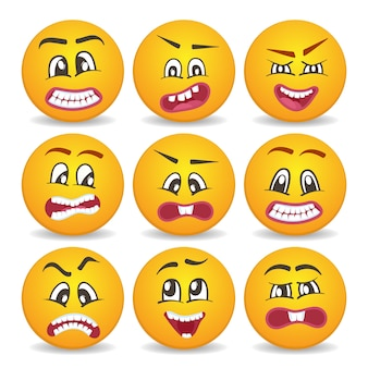 Smiley faces with different facial expressions set