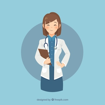 Smiley female doctor with clipboard and stethoscope