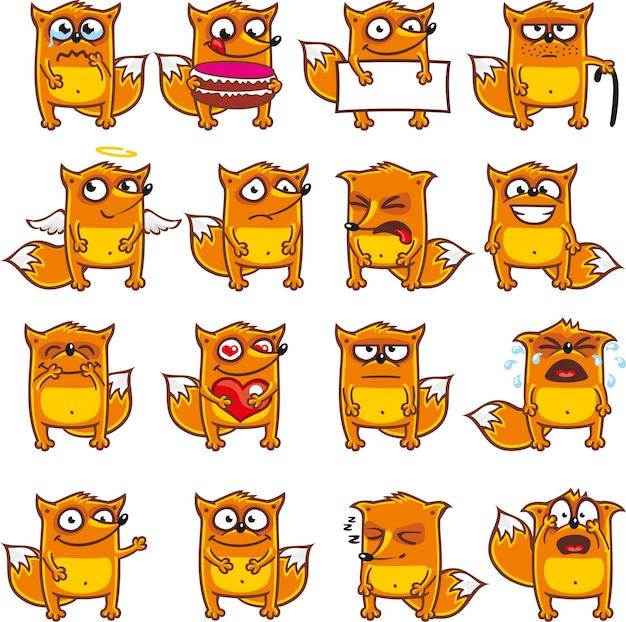 Смайлики лисиц индивидуально сгруппированы для легкого копирования и вставки.