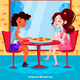 Smiley friends in pizza restaurant