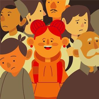 Улыбающаяся девушка в грустной толпе