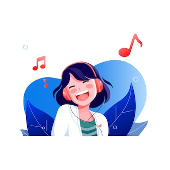 Smiley happy face girl listening to music