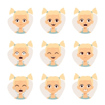 Smiley icons set of cute girls with different emotions  illustration.