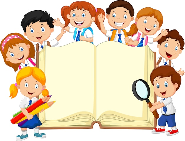 Smiley little kids holding book on isolated background
