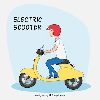 スマートな男と電動スクーター