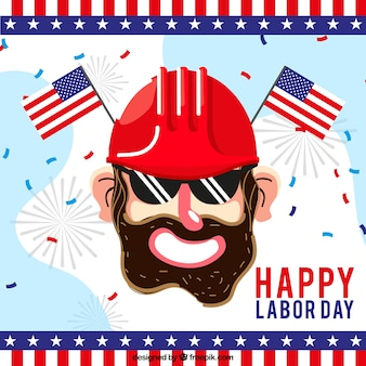 Smiley man with helmet and amercian flags
