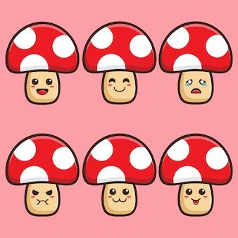 Smiley mushroom carton vector illustration design set