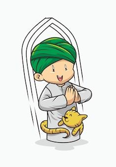 Smiley muslim boy cartoon