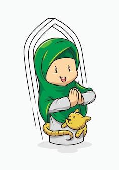Smiley muslim girl cartoon