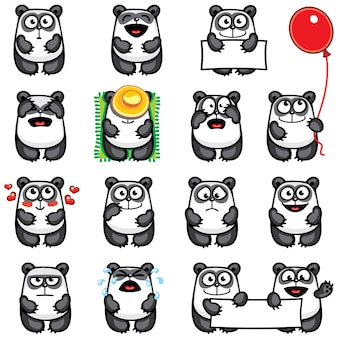 Smiley pandas individually grouped for easy copy-n-paste.