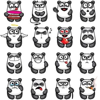 簡単にコピーアンドペーストできるように個別にグループ化されたスマイリーパンダ。