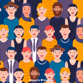 Smiley people pattern with flat design