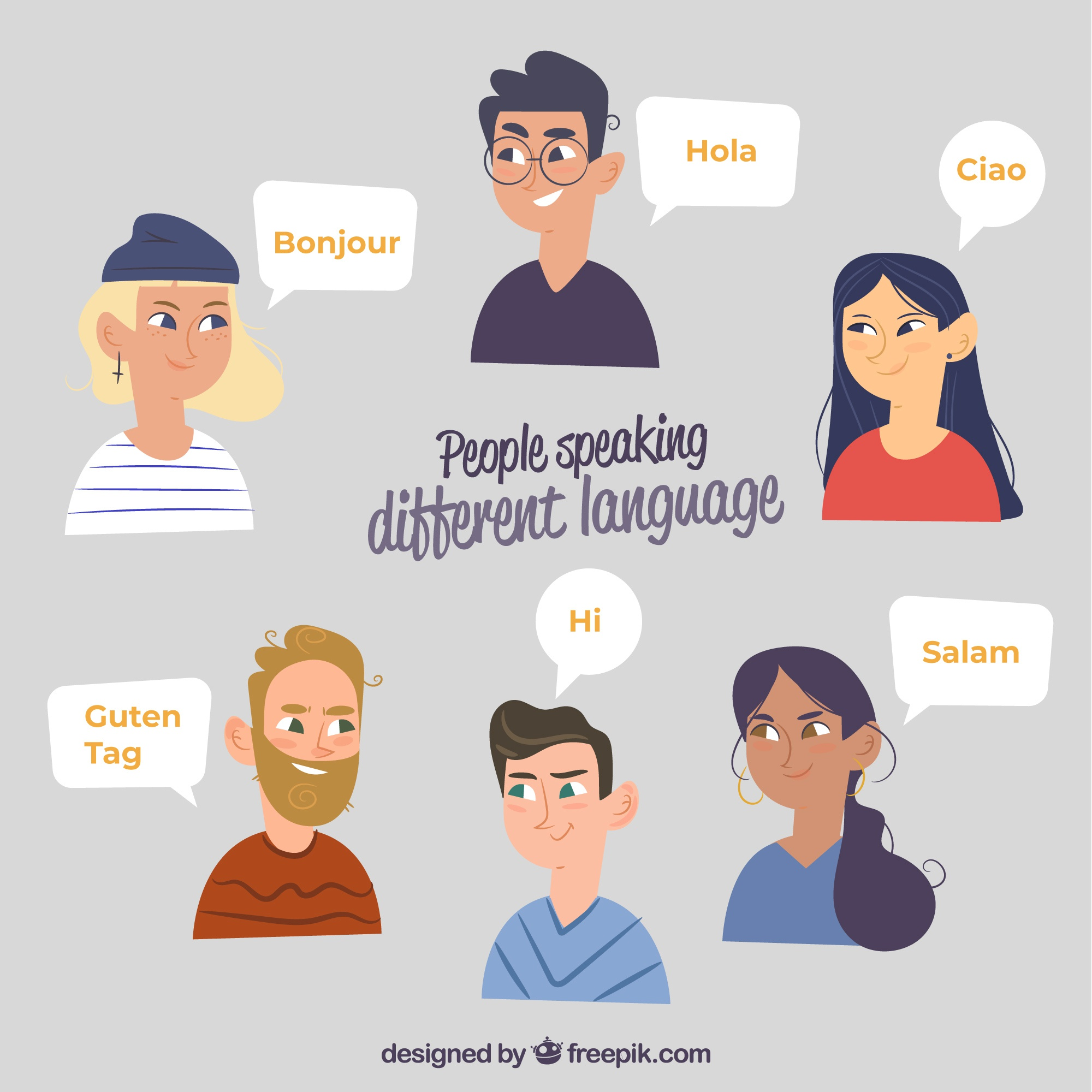 Smiley people speaking different languages with flat design