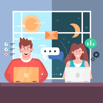Smiley people working at home