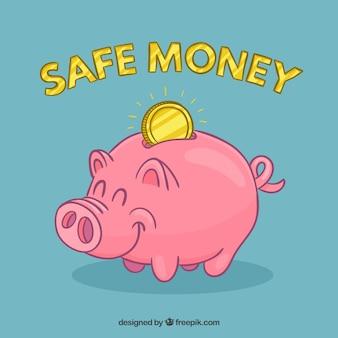 Smiley piggybank with a coin