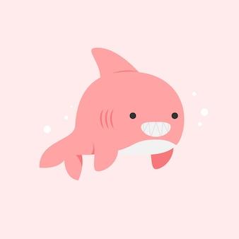 スマイリーピンク赤ちゃんサメフラットデザイン
