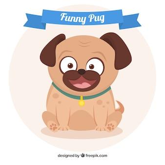 Smiley pug с плоским дизайном