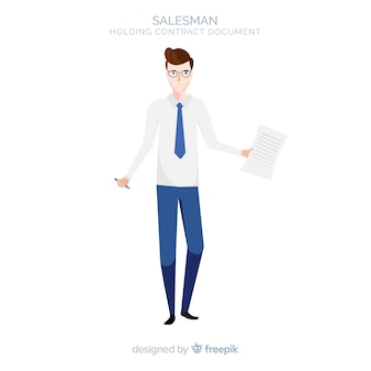 Smiley salesman character holding contract