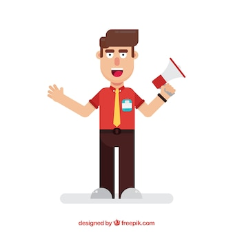 Smiley salesman with flat design