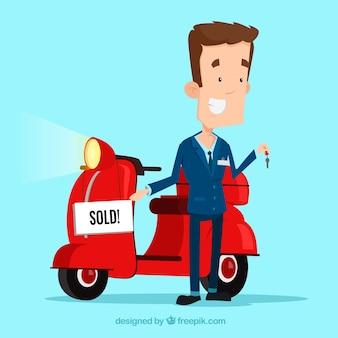 Smiley salesman with flat motorbike