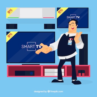 Smiley technology salesman with flat design