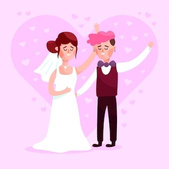 Smiley wedding couple in flat design