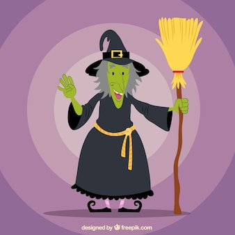 Smiley witch holding broom