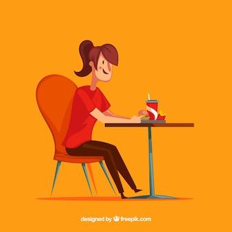 Женщина-смайлик, едят фаст-фуд