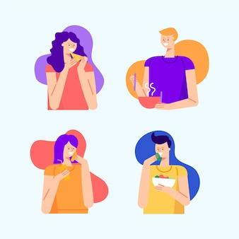 スマイリーの女性と男性が食べる