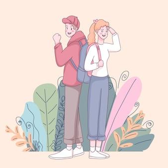 バックパックとスマイリー若いかわいいカップル。