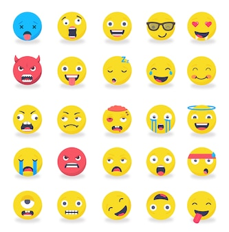 Smileys emoticons mood colored flat set