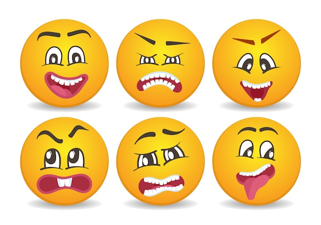 Smileys with different face expression stuck