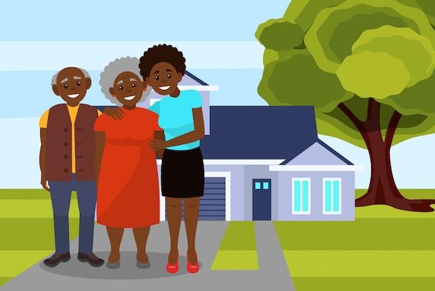 現代の家のイラストの背景にポーズをとって笑顔のアフロアメリカンの黒人家族